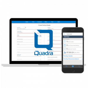 Desktop computer with Quadra maintenance contract screen display and a mobile app with the Quadra dashboard screen displayed