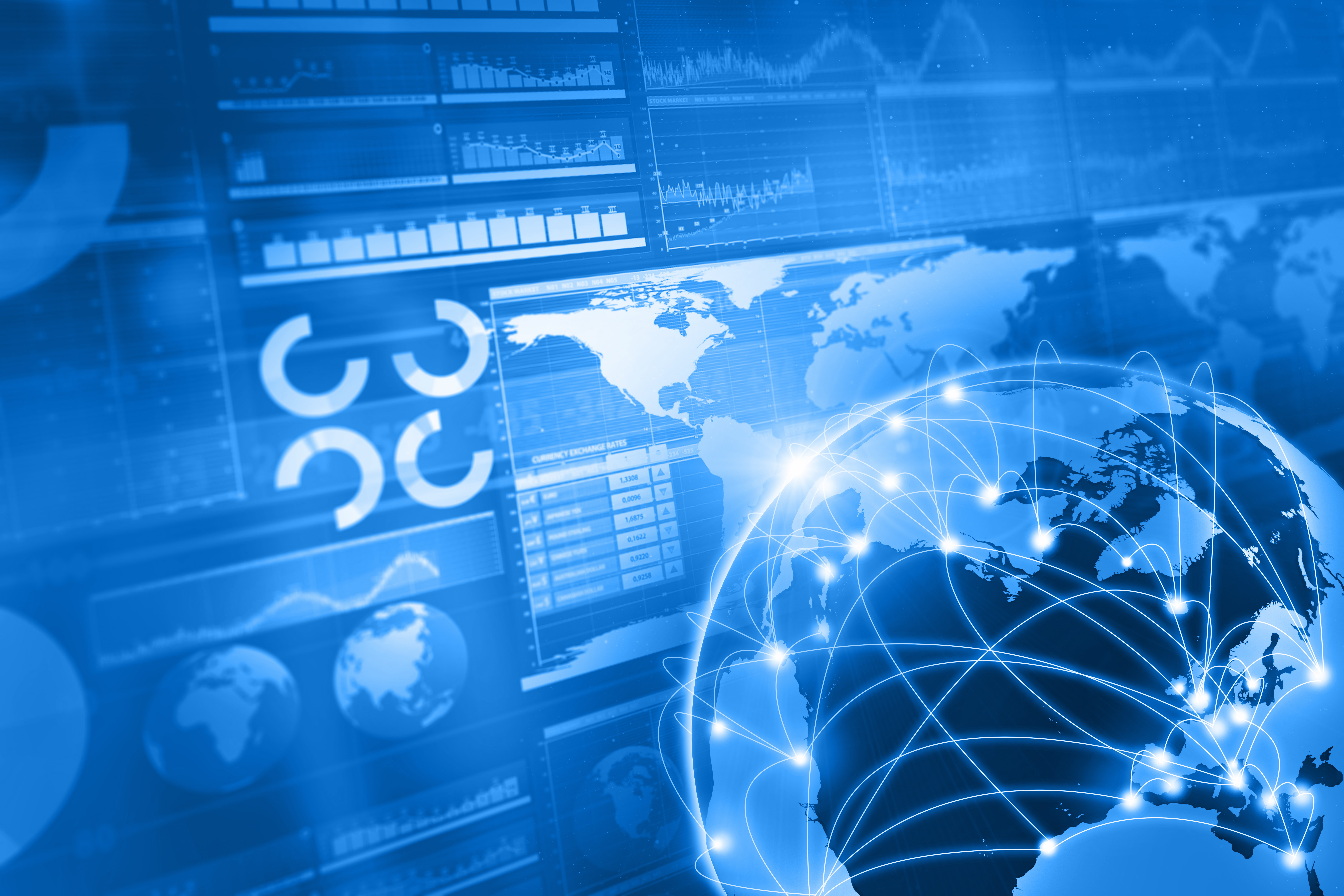 Global Business And World Connections Blue Background Erth